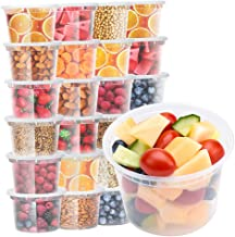 Glotoch Deli Soup Containers with Lids, 16 oz. Leakproof - Pack of 24 Plastic Microwaveable &Reusable&Dishwasher and Freez...