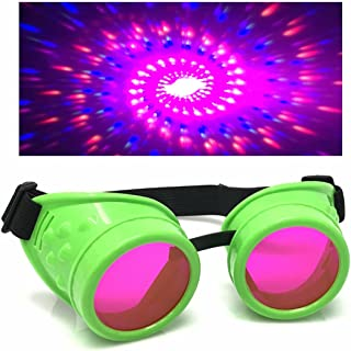 c307df66c336 UV Glow in The Dark Steampunk Rave Goggles Diffraction Retro Round Glasses  Neon Green
