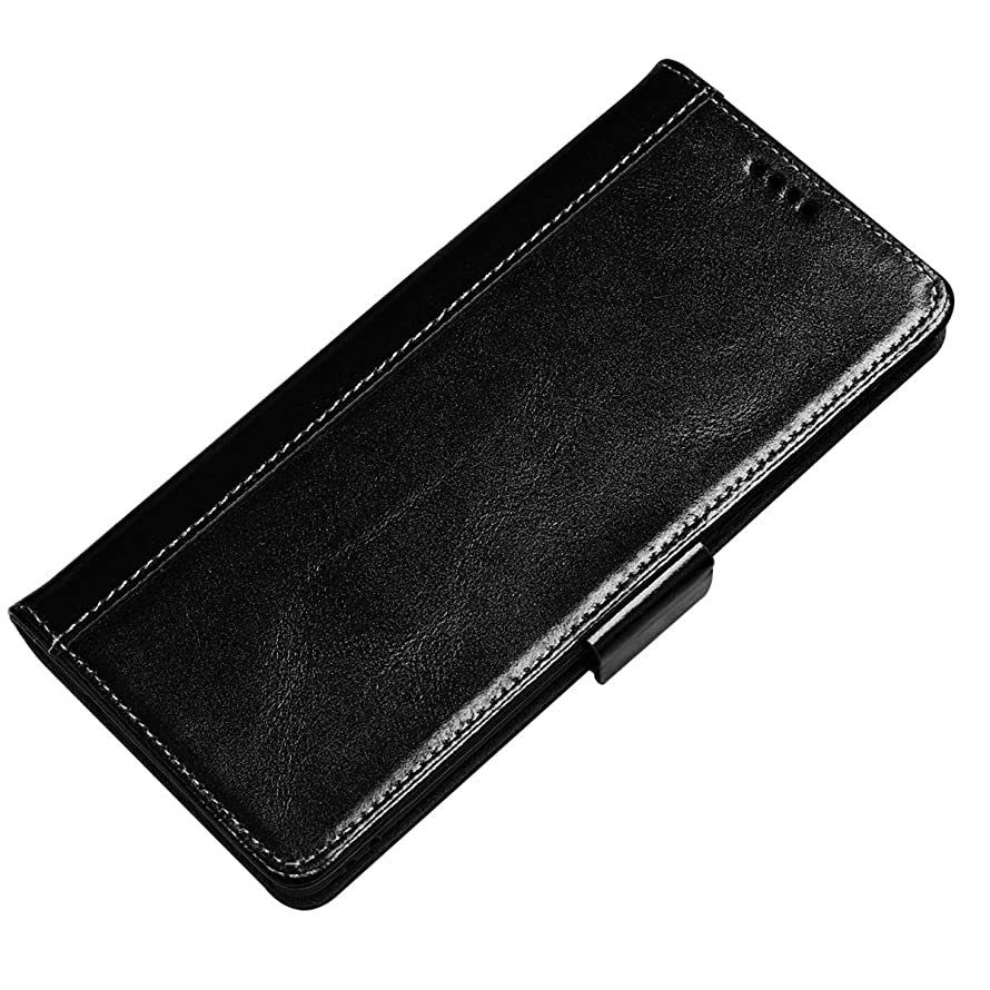 Genuine Leather Case for Galaxy Note 9, Bpowe Vintage Wallet Flip Folio Style Magnetic with Kickstand Function Credit Card Slot Cash Holder for for Samsung Galaxy Note 9 (Black)