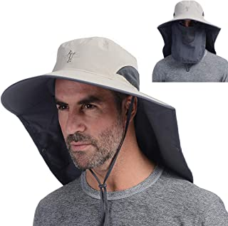 Outdoor Fishing Hat with Face Mask Ear Neck Flap Cover, Wide Brim Sun Hat UPF 50 UV Protection Safari Sun Cap for Men Women Hunting, Hiking, Jungle Mountain, Camping, Boating, Yard Working, Farming