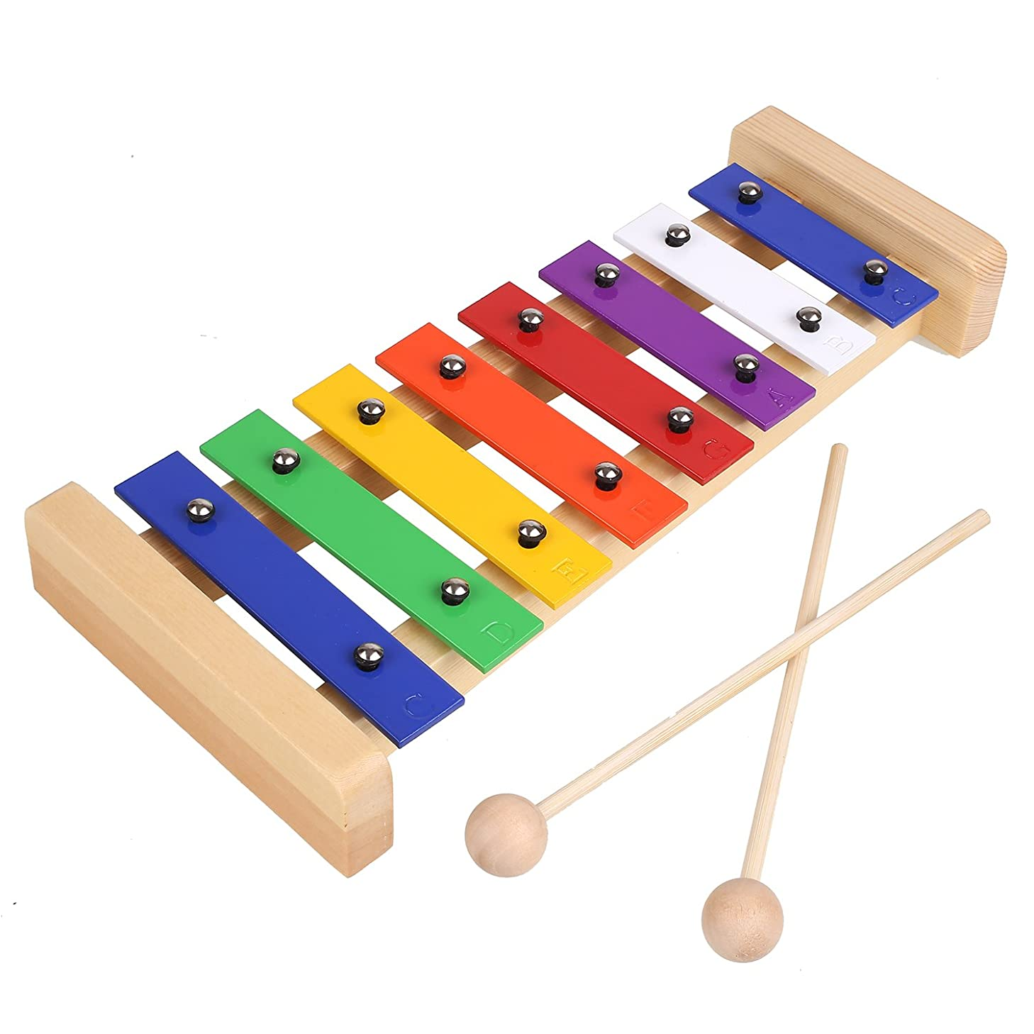 MVPower Xylophone for Kids Best Educational Development Musical Toy with Two Child-Safe Wooden Mallets and Colorful Clear Sounding Metal Keys, Perfectly 8 Toned Musical Gift for Toddler