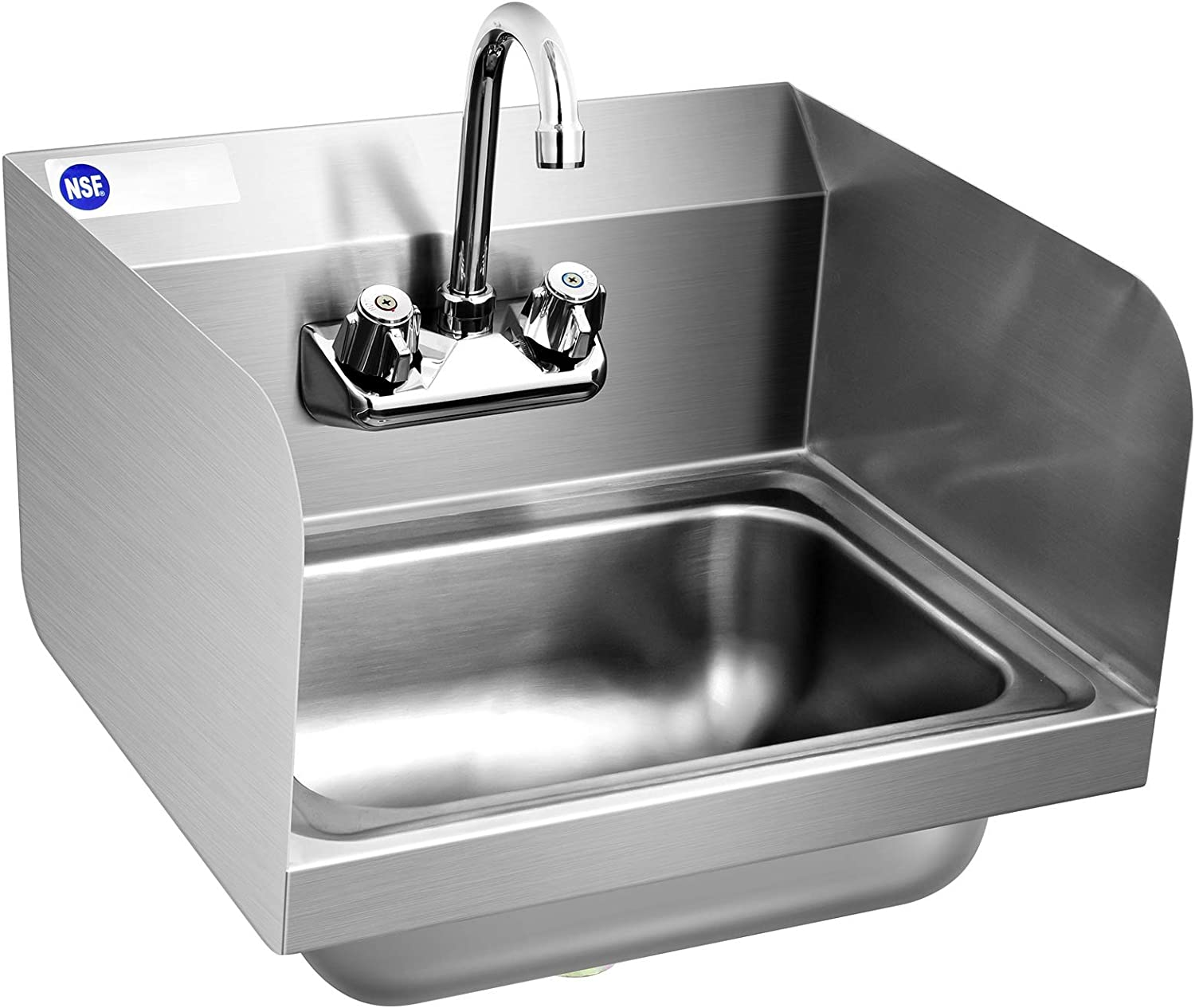 Stainless Steel Sink for Washing with Faucet & Splash Guard, Commercial NSF Wall Mount Sink for Home Kitchen 17 x 15 Inch