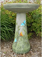product image for Burley Clay Hand Tinted Butterfly Ceramic Bird Bath