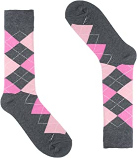Argyle Socks for Men - Dress Sock - Colorful - Grey Pink Color - Cotton - Size 8-13 (One Pair)