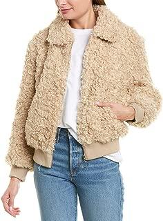 Womens Fuzzy Bomber Jacket, S, Beige