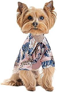 KOESON Hawaiian Dog Shirt, Tropical Palm Trees Doggie Summer Breeze Camp Shirt, Puppy Casual Button Down Cool T-Shirt Pet ...