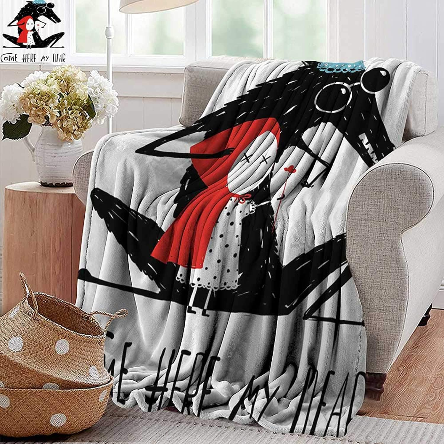 Throw Blankets Fleece Blanket,Lifestyle,Come Here My Dear Quote with Grandma Wolf and Snow White Kids Graphic Print,Teal Red Black,300GSM, Super Soft and Warm, Durable 35 x60
