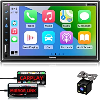 "$159 » Car Stereo Compatible with Apple Carplay, Double Din 7"" Full Touch HD Capacitive Screen - Mirror Link, Bluetooth, Backup C..."