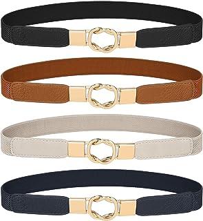 Women's Skinny Belt for Dresses Retro Stretch Chic Ladies Waist Belt Set of 4 Elastic Belt for Jeans Pants