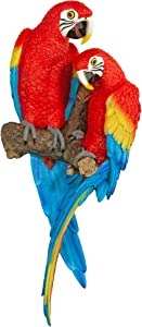 Design Toscano QL11295  Tropical Scarlet Macaws Wall Sculpture, 22 Inch, Polyresin, Full Color
