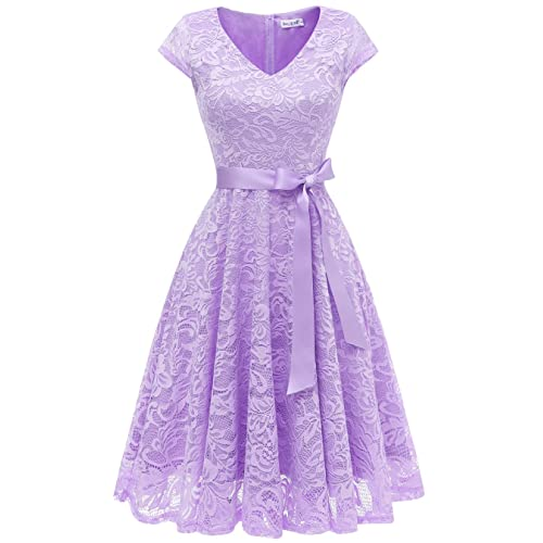 a30fbc4c9f6a BeryLove Women's Floral Lace Short Bridesmaid Dress Cap Sleeve Cocktail  Party Dress