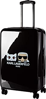 Kat & Karl Expandable Hardside Spinner Luggage, Black, 24 Inch