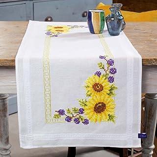Vervaco Tischläufer Sonnenblümchen Stickpackung/Läufer im vorgedruckten/vorgezeichneten Kreuzstich, Baumwolle, Mehrfarbig, 40 x 100 x 0.3 cm