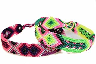 Mexican Bohemian Friendship Bracelet Colorful and Handmade for Women 2 PCS