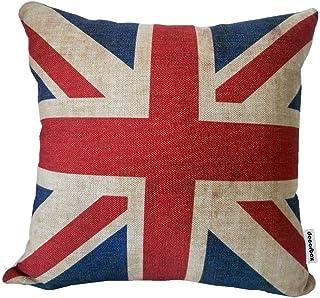 N\A Funda de cojín Decorativa Cuadrada de Lino de algodón con Bandera británica de Union Jack