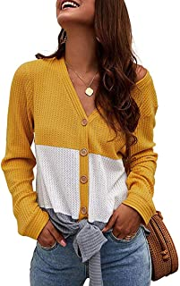 SAMPEEL Womens Knotted Sweaters Front Waffle Knit Vneck Triple Color Blouses Yellow M