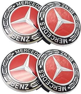Mercedes Benz Wheel Center Caps Emblem Hubcaps 4pcs (Red)