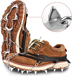 Hapire Traction Cleats Crampons Unisex Men Women Ice Grippers Anti-Slip Stainless Steel Snow Spikes for Shoes Boots Spikes Winter Walking Hiking Climbing Spikes