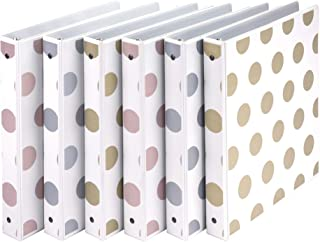 """Samsill Fashion Design 3 Ring Binder, Dots, 1"""" Round Rings, Bulk Binders, 6 Pack, Assorted - Gold, Silver, Rose Gold (MP20..."""