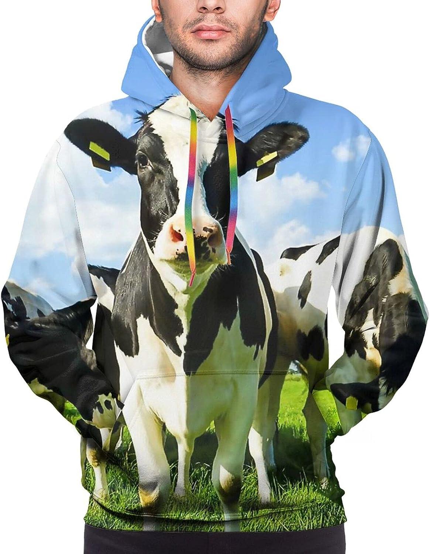 Hoodie For Mens Womens Teens Cows On Summer Pasture Hoodies Pullover Sweatshirt Pockets