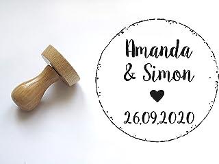 Timbro matrimonio personalizzato stile country, con nomi e data, forma rotonda 5 cm