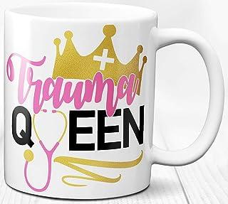 Taza de café Reina del trauma para enfermera, regalo de 330 ml, taza de cerámica para médico