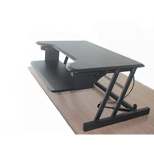 Black Programmable AnthroDesk Sit to Stand Electric Adjustable Height Standing Desk with Easy Up//Down Controls