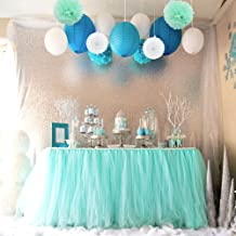 Sopeace Tissue Pom Poms Flowers Paper Lanterns and 1 Tutu Table Skirt for Mermaids Under the Sea Theme Bridal Shower Wedding Ball Party Supplies Decoration