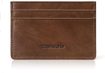 bd1aa26bcaf429 Teemzone Carta tasca anteriore in vera pelle titolare caso della carta di  credito sottile a... Teemzone Portafoglio Uomo Pelle di Vitello con  Portamonete ...