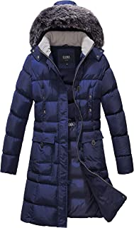 Women's Winter Puffer Mid Length Cargo Pocket Coat Fur Trim Removable Hood