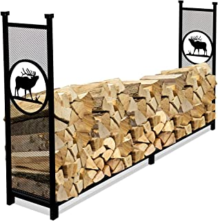 INNO STAGE Fire Wood Log Rack Holder for Firewood Pile Storage Outside Adjustable Fireplace Stand Stacking with Eye-catching Elk Design - 8'