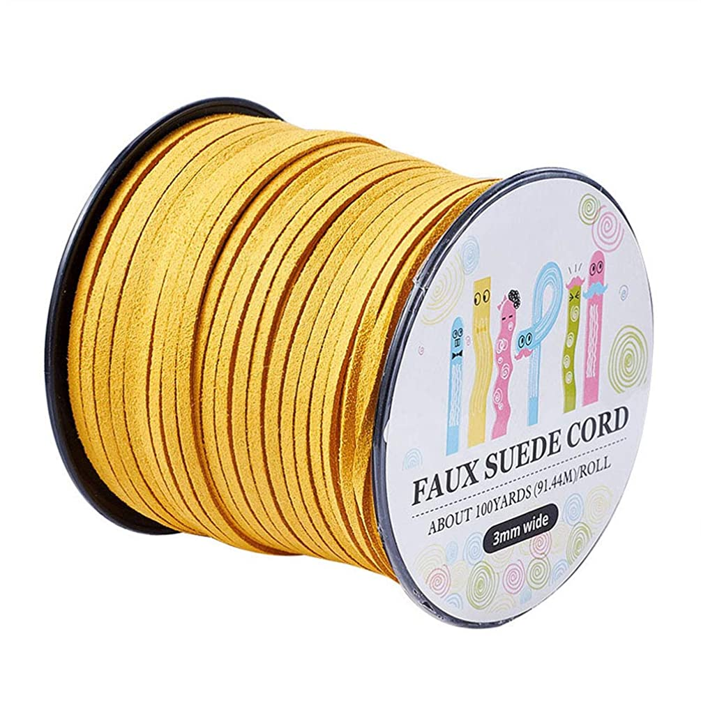 Pandahall 98Yard 90m/roll 3x1.4mm Faux Suede Cord String Leather Lace Beading Thread Suede Lace Double Sided with Roll Spool 295feet Gold