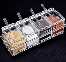 Yesland Clear Seasoning Rack Spice Pots - 4 Piece Storage Container Condiment Jars - Acrylic Seasoning Box, Cruet with Cov...