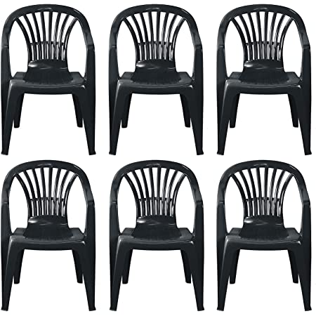 simpahome Stackable Low Back Plastic Garden Chairs - ANTHRACITE GREY - Set of 6 Chairs for Indoor or Outdoor Use.