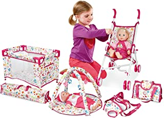 deAO Kids 5-in-1 Role Play Deluxe Baby Doll Playset with Play Mat, Travel Cot, Baby Carrier, Stroller and Travel Bag (Doll...