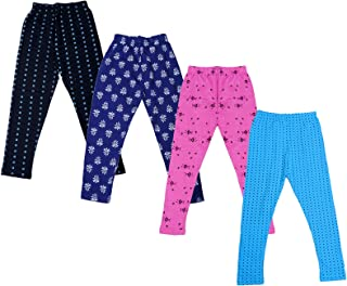 Indistar Girls Super Soft and Stylish Cotton Leggings Combo Pack of 3 Solid and 2 Printed Leggings