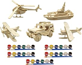 Original Hobby Wood Craft 3D Puzzles (Set of 5 Includes Biplane, Seaplane, Helicopter, Boat, Jeep) with 5 Sets of Paints