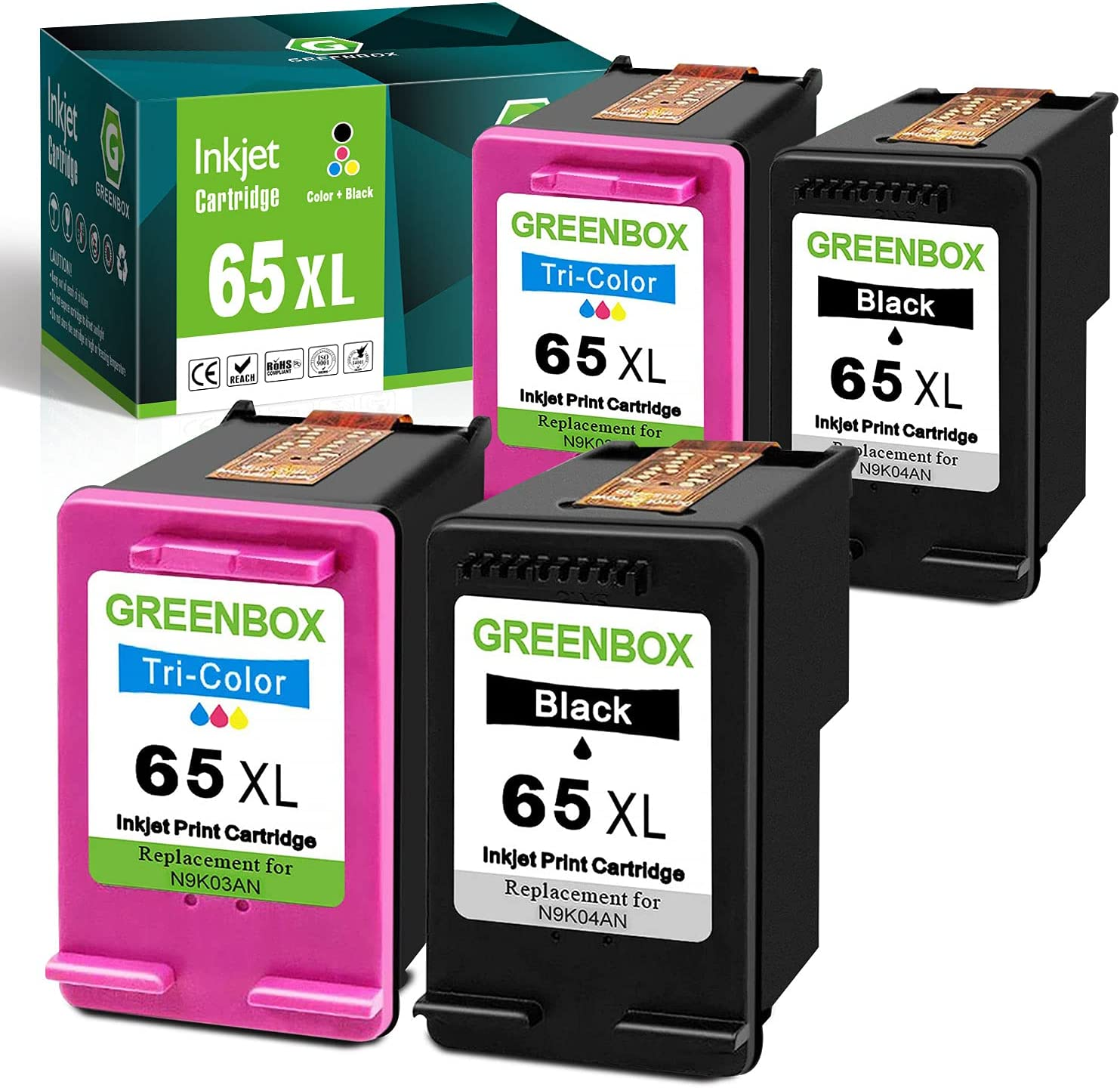 GREENBOX Remanufactured Ink Cartridge 65 Replacement for HP 65XL 65 XL N9K04AN for HP Envy 5055 5052 5058 DeskJet 3755 2655 3720 3721 3722 3723 3752 3730 3758 2652 Printer Tray (2 Black 2 Tri-Color)