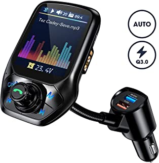 "VicTsing FM Transmitter Car, (Auto Frequency Tuning) 1.8"" Color Screen Bluetooth Car Transmitter with 50% Higher Effeciency, 3 USB Ports with QC 3.0, 5 EQ Modes, Hands-Free Calling, U Disk/TF Card/Aux"