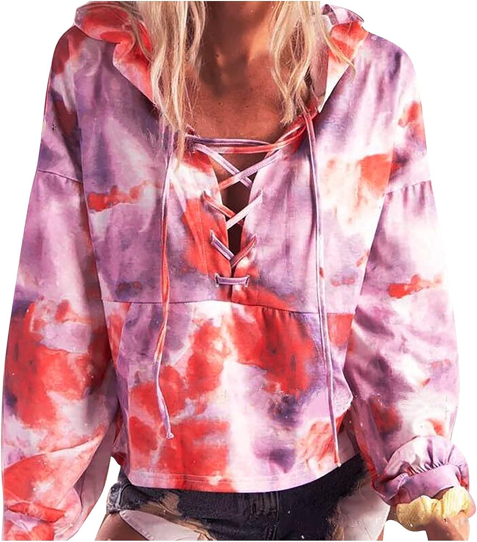 Women Sweatshirts Tie dye Printing Hoodie Drawstring Bandage Pullover Trendy Casual Long Sleeve with Pocket