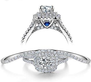 Wuziwen 3pcs Engagement Wedding Ring Set for Women Sterling Silver Cz Created Blue Sapphire