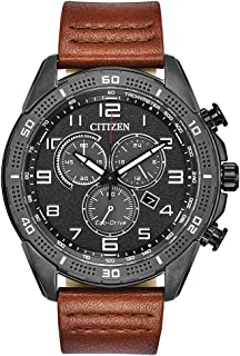 Citizen Mens Solar Powered Watch, Analog Display and Leather Strap AT2447-01E