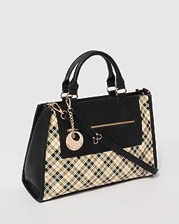 Black Plaid Paloma Charm Tote Bag