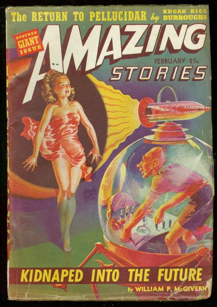 AMAZING STORIES FEB 1942-SPICY excellence BURROUGHS Super sale period limited RICE G- CVR-EDGAR