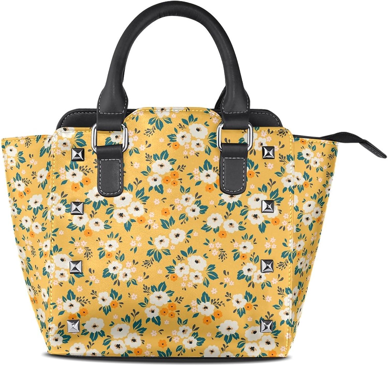 My Little Nest Women's Top Handle Satchel Handbag Elegant Small White Ditsy Flower Ladies PU Leather Shoulder Bag Crossbody Bag