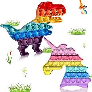 Pop It Unicorn Push Bubble Fidget Toys, 2 Packs of Advanced Poper Silicone Toys, Relief Autism Special Needs, Le Rose Mign...