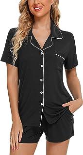 Anjue Conjunto de pijama de manga corta para mujer con botones y bolsillos S-XXL