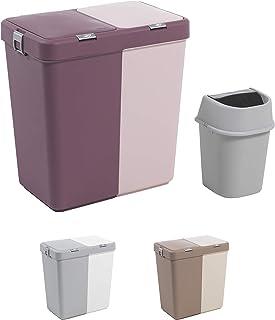 Mabel Home en Plastique avec Couvercle Panier à Linge, 2 Sections, Grand Panier à Linge â € « Trash Bin supplémentaire (1,...