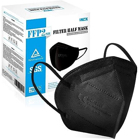 20 PCS Mascarillas Negras FFP2 - Homologadas CE 0598 Certificadas - 5 Capas Protectoras - Cómodas y Resistentes Con Clip Nasal - Envasadas Individualmente en Bolsa de PBS (Negro)
