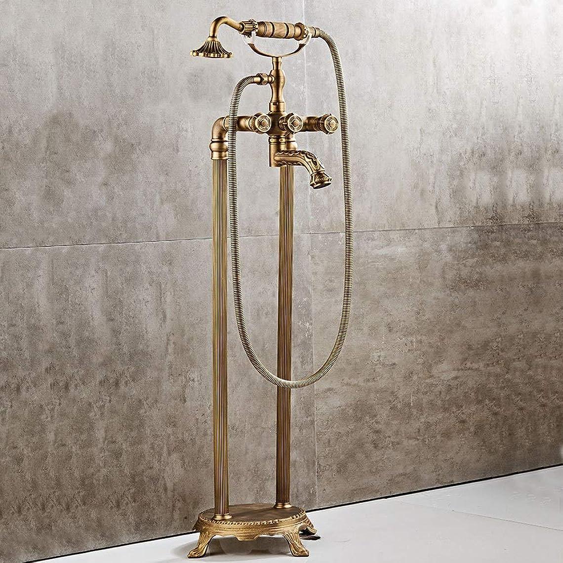 陰気怖がって死ぬ正確な浴室用混合水栓 ハンドヘルドシャワー自立蛇口バスタブタップミキサーコールドとホットミキサーシャワータップタブをタップするとレトロなバスタブタップ (色 : Brass b, Size : Free size)
